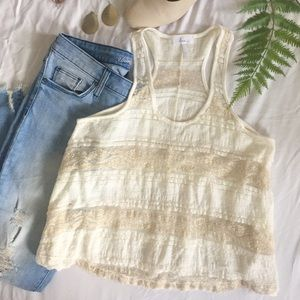 Kira Ivory and Gold Lace Racerback Tank